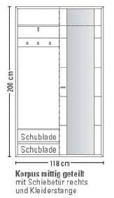 Leinkenjost Padua Kompaktgarderobe re. 3-teilig