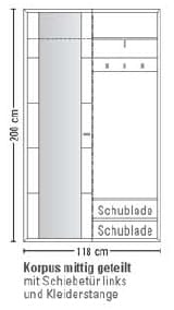 Leinkenjost Padua Kompaktgarderobe li. 3-teilig