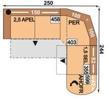 Polipol Polstermöbel Mataro-Dina 2,5APEL-PER-1,5SEL-AhoFR